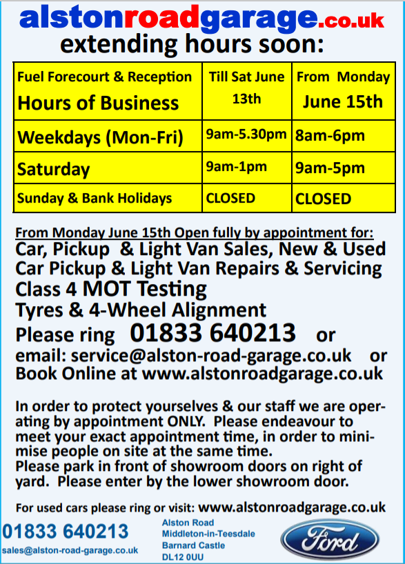 Updated opening hours and services